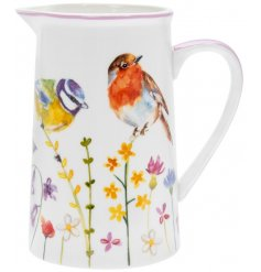 A fine China Jug decorated with a floral decal and garden birds to finish