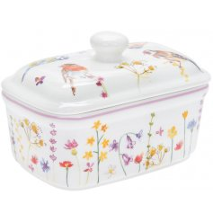 A china Butter Dish decorated with a floral decal and garden birds to finish