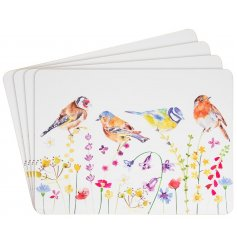 Bird Garden Printed Set of Placemats   A set of 4 cork Placemats, each decorated with a floral decal and garden birds to