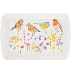 A small serving tray decorated with a floral decal and garden birds to finish