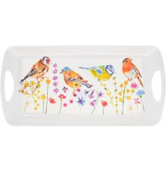 A medium sized serving tray decorated with a floral decal and garden birds to finish