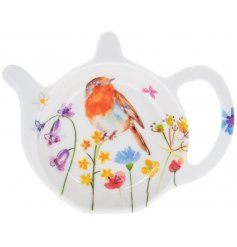 A small teabag tidy decorated with a floral decal and garden birds to finish