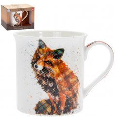 a fine China Mug featuring a printed fox made up of bold patterns and colours