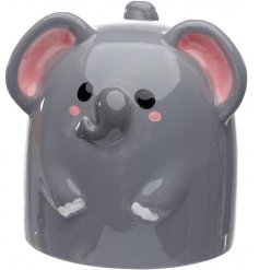 A ceramic mug with a Cutimals Elephant Decal to it