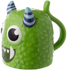 A ceramic mug with a Monstarz Monster Decal to it