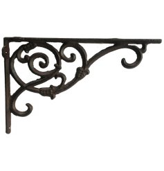 Perfect for hanging baskets or lights around your garden, a cast iron wall bracket with an intricate spiral detailing
