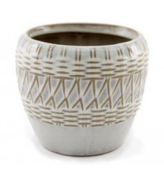 A charmingly simple ceramic based pot set with a woven inspired embossment and a neutral colour tone