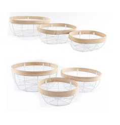 Two Assorted Set of 3 wire Storage Baskets with Bamboo Edging, 32cm/28.5cm/23.5cm