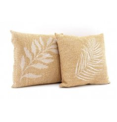 a stylish mix of plump cushions with a woven texture finish and added leafy decal to each