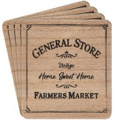 A set of natural toned wooden coasters, each printed with a General Store text decal