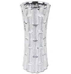 An ornamental vase featuring a luxury silver toning and bamboo inspired surrounding decal