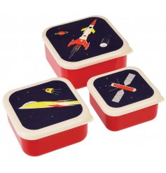 An assorted sized set of lunch boxes that can fit inside each other for easy storage