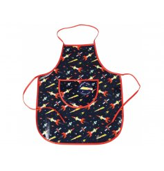 A space age printed apron made from a wipe clean material