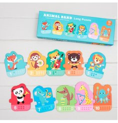 Help little ones learn about numbers, colours and animals with this fun and easy to play with puzzle!