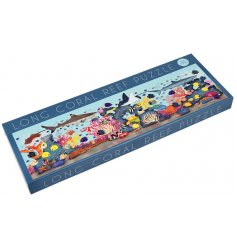 A large jigsaw puzzle with a bold and beautiful Coral Reef inspired illustration to it