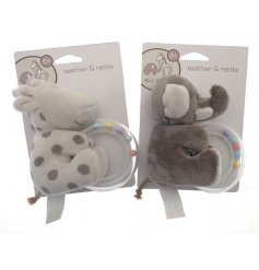 A cute and cuddly assortment of Ellie & Raff themed Teething Ring Soft Toys in simple neutral tones