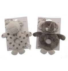 A cute and cuddly assortment of Ellie & Raff themed Soft Toy Rattle Rings in simple neutral tones