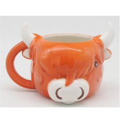 A Highland Cow shaped mug with added fun features