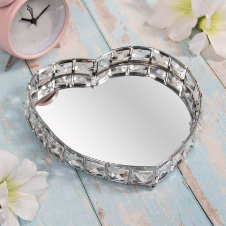 Crystal Mirror Heart Tray, 23cm