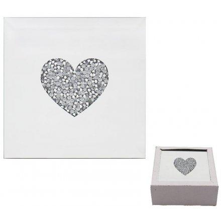 Glitter Heart Mirrored Coasters