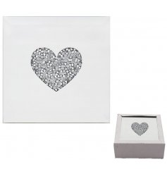 A gorgeously decorated set of Mirrored Coaters, each designed with a stunning crystal heart centre