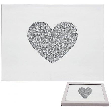 Glitter Heart Mirrored Placemats