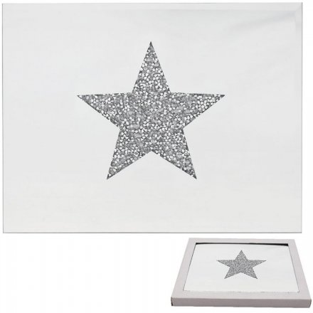 Set of Glitter Star Mirrored Placemats