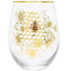 this Stemless Glass features a gold honeycomb print and diamonte bee charm to finish
