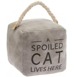 A charmingly themed square doorstop in a soft grey tone and decorated with a bold script text