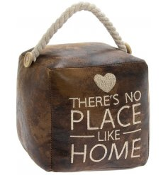A square shaped doorstop covered with a brown faux leather fabric and finished with a chunky rope handle for decal