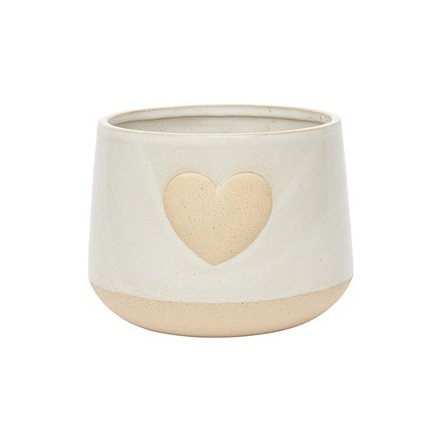 Stoneware Heart Planter, Off White