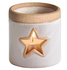 A chic and simple themed T-light holder set with a smooth off white ceramic surround and star cut window