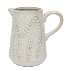 Covered with a beautifully embossed trailing leaf decal, this decorative jug is a must have for any home