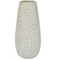 Covered with a beautifully embossed trailing leaf decal, this decorative vase is a must have for any home