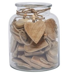 A mix of 36 natural wooden heart shaped tokens, perfectly preserved in a glass jar