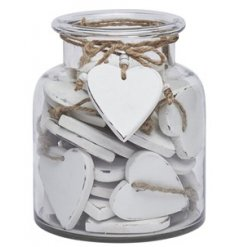 This glass jar is filled with 36 rustic white wooden heart tokens