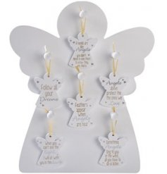 A Mix of mini hanging plaques in an angel shape, each complete with a sentimental scripted text decal