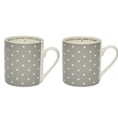 An assortment of ceramic mugs, one for you and one for your bestie!
