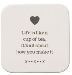 A cute and simple ceramic coaster set with a smooth glazed finish and script text decal on top