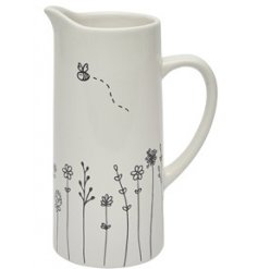 this White Ceramic Jug is a wonderful accessory to bring to any home