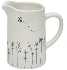 A charming and sweetly themed Ceramic Jug with a white base tone