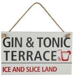 A wooden hanging plaque set with a bold script text based on Gin & Tonic