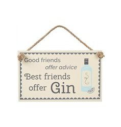 A wooden plaque displaying a comical script text about friends and gin