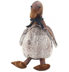 A cute themed Duck shaped Doorstop made from faux leather and faux fur trimmings