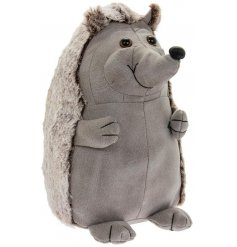 A cute Hedgehog shaped Doorstop made from faux leather and faux fur trimmings
