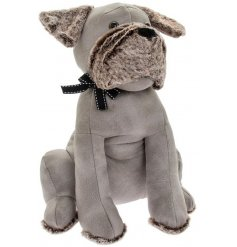 A charming little dog shaped doorstop made from a soft grey toned faux leather fabric