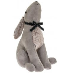 A gazing hare doorstop in a grey faux leather fabric finish
