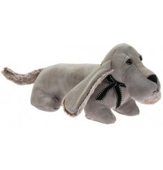 A Standing Dachshund Doorstop set with a soft grey faux leather tone and finished with added faux fur trimmings