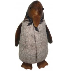 A cute little Penguin shaped Faux leather doorstop with added faux fur trimmings and a rustic charm