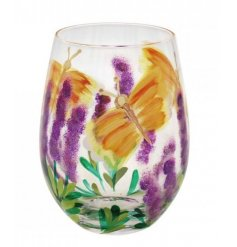 A beautifully decorated stemless glass that will be sure to bring a touch of Spring to your surroundings